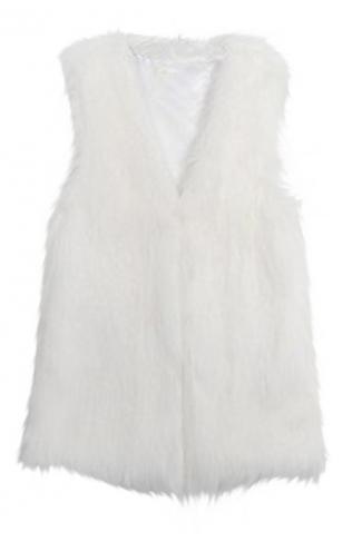 White Trendy Womens Warm Winter Faux Fur Vest