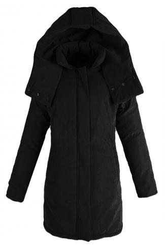Black Womens Plain Casual Long Loose Warm Cotton Coat