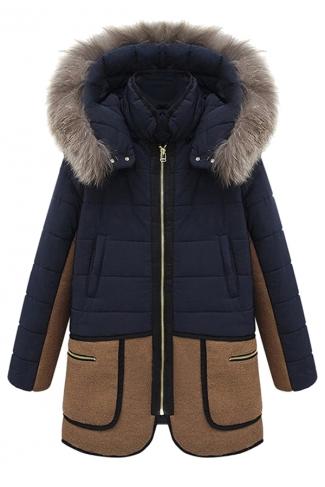 Navy Blue Trendy Ladies Fur Hooded Patchwork Parka Coat