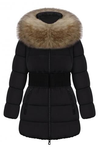 Black Pretty Ladies Fur Collar Color Block Quilted Long Coat