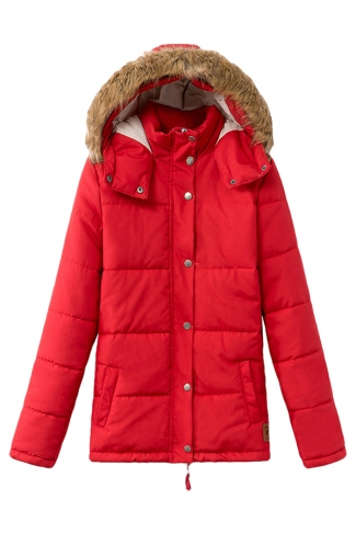 Red Cool Womens Leather Patchwork Fur Hooded Quilted Coat