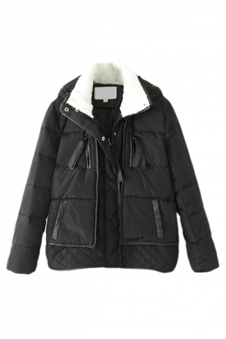Black Trendy Womens Hooded Thick Down Car Coat