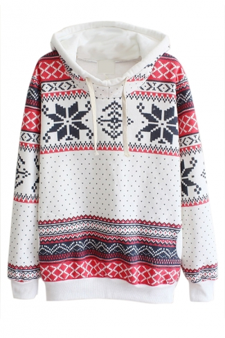 White Ladies Snowflake Christmas Printed Thick Pullover Hoodie