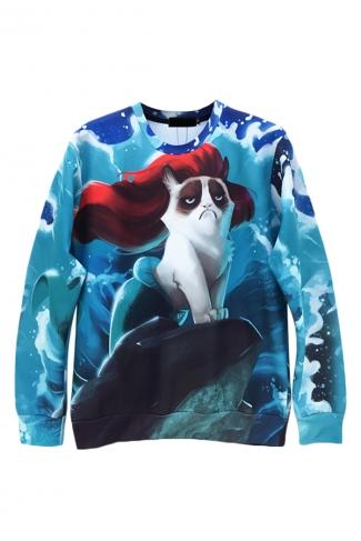 Turquoise Jumper Crew Neck Mermaid Grumpy Cat Printed Sweatshirt