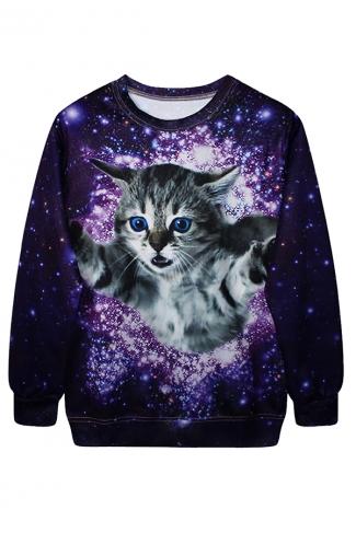 Purple Womens Crew Neck Pullover Cat Galaxy Printed Sweatshirt