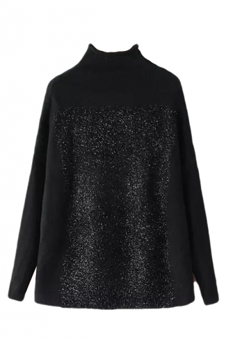 Black Womens High Collar Fil-Lumiere Oversized Pullover Sweater