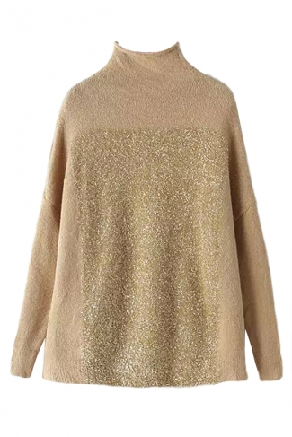 Khaki Womens High Collar Fil-Lumiere Oversized Pullover Sweater