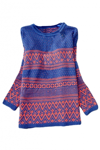 Blue Ladies Ethnic Striped Patterned Pullover Knit Sweater