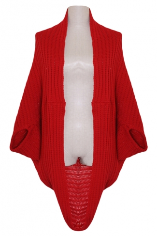 Red Ladies Batwing Sleeve Plain Cardigan Knit Sweater Coat