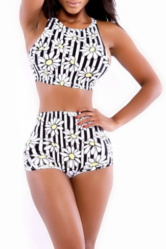Strap Flower Stripe Bikini Top & High Waisted Swimsuit Bottom