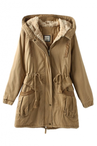Khaki Vintage Warm Winter Tunic Hooded Womens Parka Coat