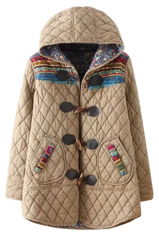 Khaki Cute Ladies Polka Dot Pinted Hooded Quilted Toggle Coat