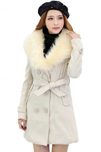 Beige White Trendy Womens Fur Collar Thick Wool Coat