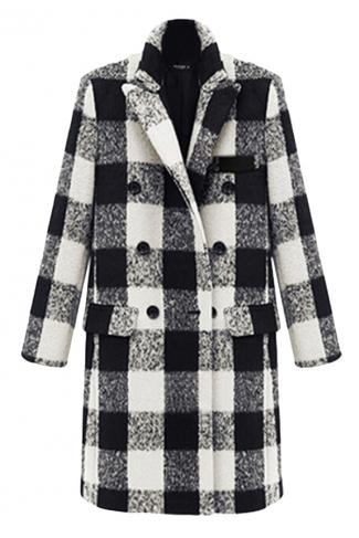 Black Modern Womens Plaid Turndown Collar Pea Tweed Coat