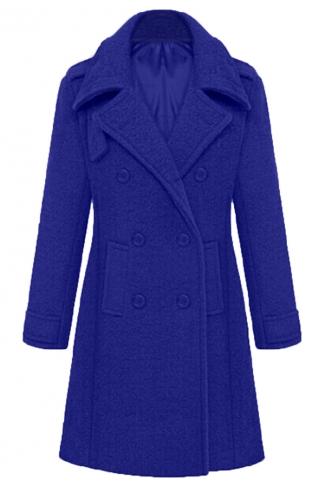 Blue Stylish Ladies Plain Turndown Collar Pea Long Tweed Coat