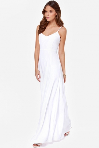 White Pretty Womens V-neck Sleeveless Strap Backless Maxi Dress