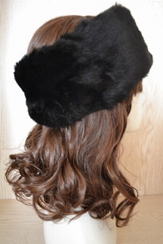 Black Faux Fur Headband Cossack Fashion Womens Hat
