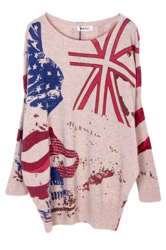 Beige Womens Fashion Loose Union Flag Pattern Pullover Sweater