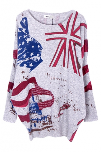 Gray Womens Fashion Loose Union Flag Pattern Pullover Sweater