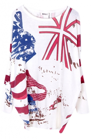 White Womens Fashion Loose Union Flag Pattern Pullover Sweater