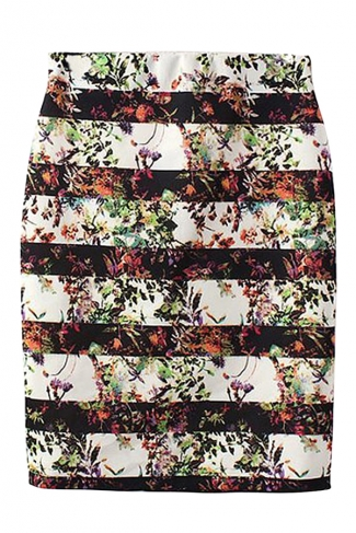 Black Pretty Ladies Stripe Flower Printed Pencil Midi Skirt