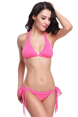 Pink String Halter Womens Swimsuit Top & String Bikini Bottom