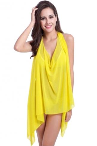 Yellow Plain Sexy Ladies Summer Beach Sarong