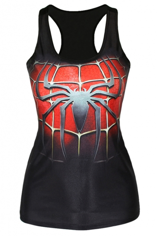 Black Fashion Ladies Spider Man 3D Printed Tank Top
