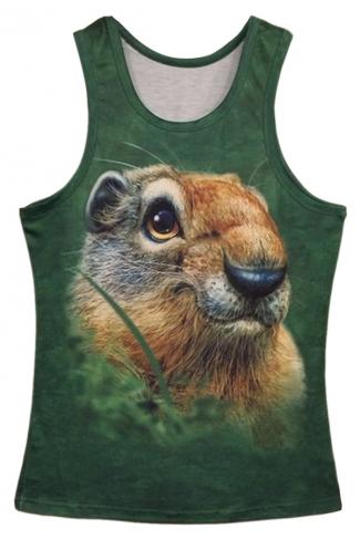 Green Trendy Womens Smart Squirrel Printed Tank Top