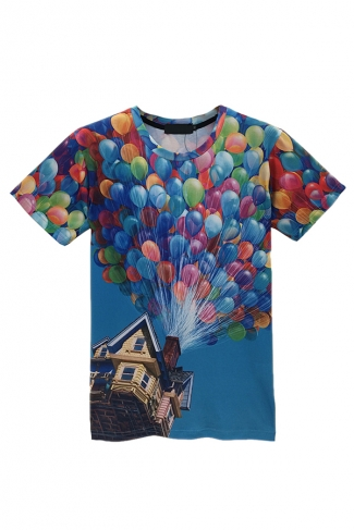 Blue Ladies Crew Neck Movie Up Colorful Balloon Printed T-shirt