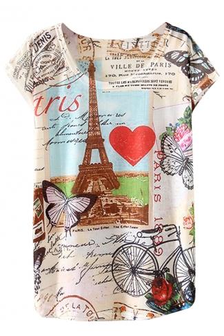 Crew Neck Short Sleeve Eiffel Tower Postcard Printed T-shirt