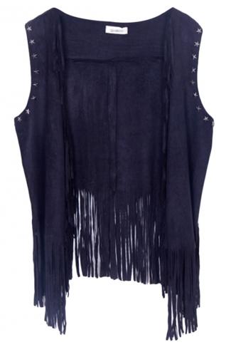 Black Modern Ladies Plain Fringe Suede Rivet Vest