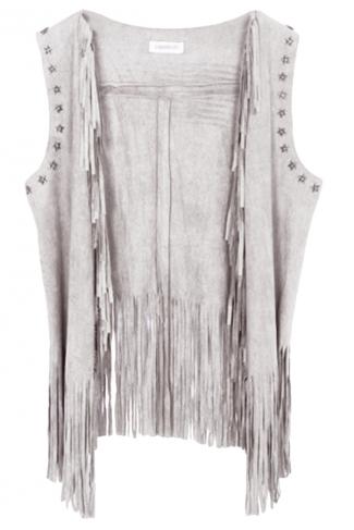 Gray Modern Ladies Plain Fringe Suede Rivet Vest