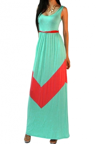 Turquoise Womens Sexy Sleeveless Color Block Casual Maxi Dress