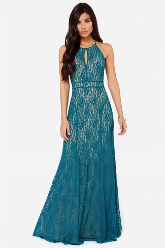 Turquoise Lace Sleeveless Womens Backless Halter Sexy Evening Maxi Dress