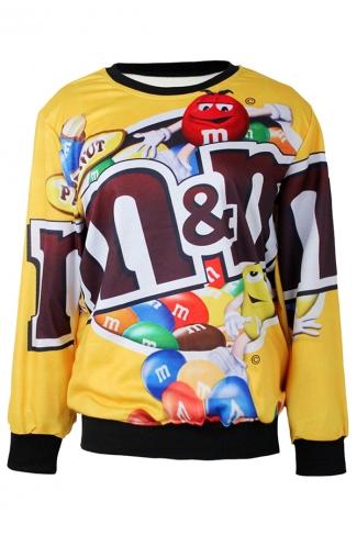 Yellow Funny Ladies Jumper Crew Neck M&M Chocolate Printed Sweatshirt
