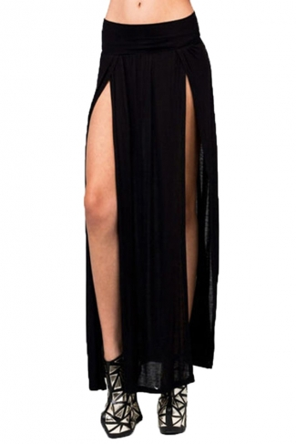 Black Sexy Womens High Waisted Slit Maxi Skirt