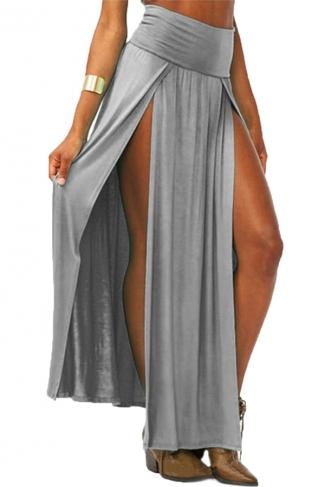 Gray Sexy Womens High Waisted Slit Maxi Skirt