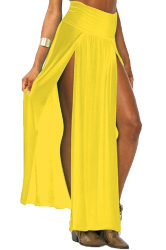 Yellow Sexy Womens High Waisted Slit Maxi Skirt