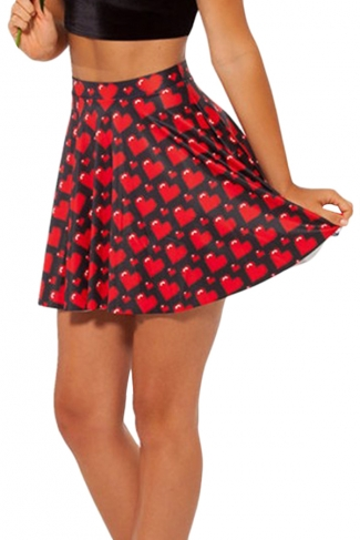 Black Hearts Printed Womens Fashion Sexy Pleated Skirt