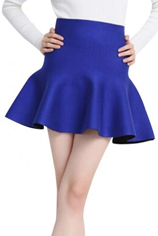 Blue Womens Fashion Plain Thick Mermaid Pleated Skirt