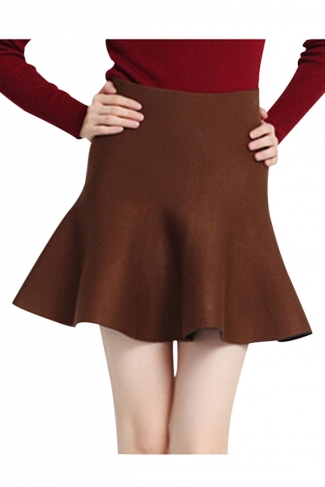 Coffee Womens Fashion Plain Thick Mermaid Pleated Skirt