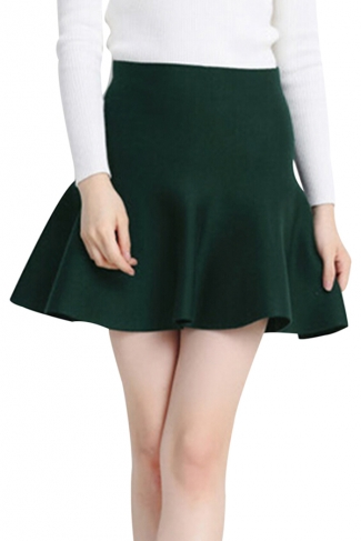 Green Womens Fashion Plain Thick Mermaid Pleated Skirt