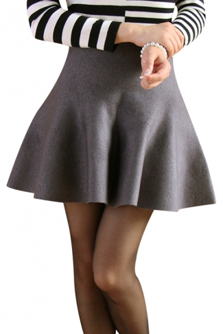 Gray Womens Fashion Plain Thick Mermaid Pleated Skirt