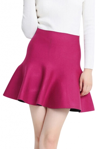 Rose Red Womens Fashion Plain Thick Mermaid Pleated Skirt