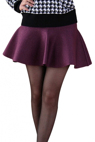Purple Womens Fashion Plain Thick Mermaid Pleated Skirt