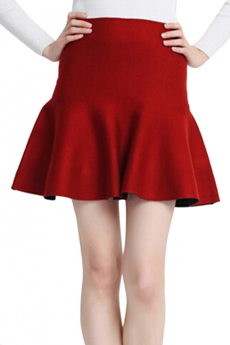 Red Womens Fashion Plain Thick Mermaid Pleated Skirt