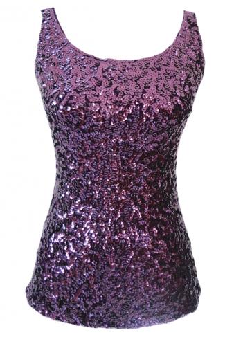 Womens Slimming Crew Neck Sleeveless Sequined Tank Top Purple