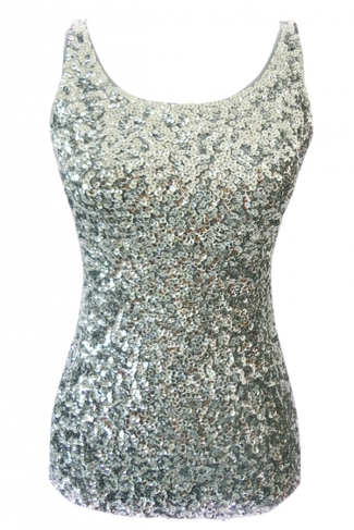 Womens Slimming Crew Neck Sleeveless Sequined Tank Top Silvery