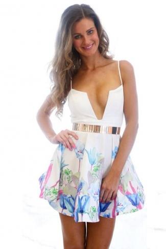 White Deep V Low Cut Floral Printed Spaghetti Straps Ladies Mini Dress
